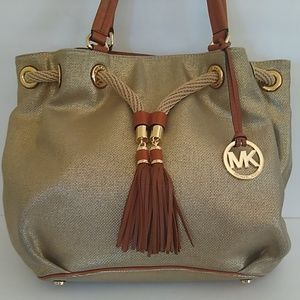 Michael Kors Gold Shimmery Rope & Tasseled Bag